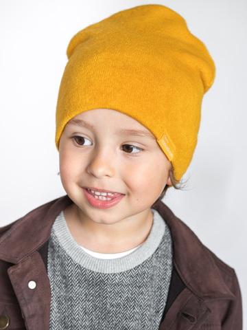детская шапка из турецкой шерсти охра