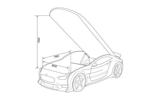 Объемная (3d) кровать-машина NEO AUDI графит