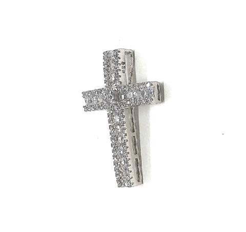 12047- Крестик из серебра с микроцирконами