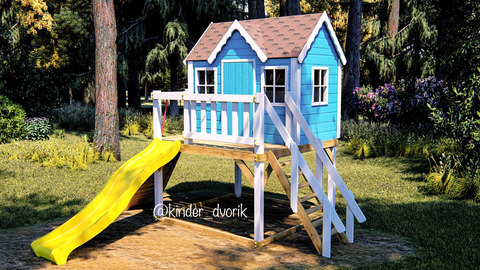 Детский деревянный домик с горкой
