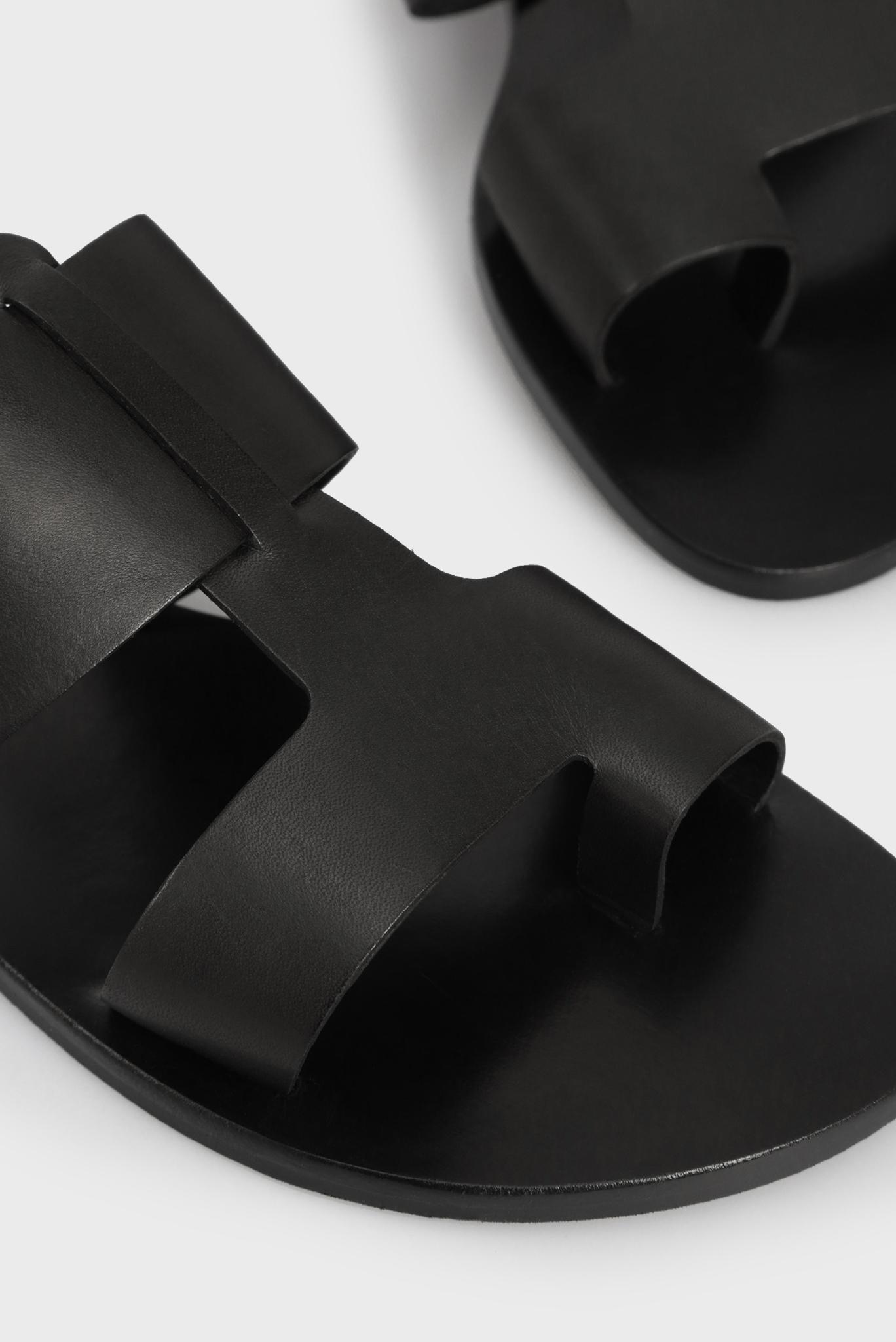 Женские черные кожаные мюли Preppy
