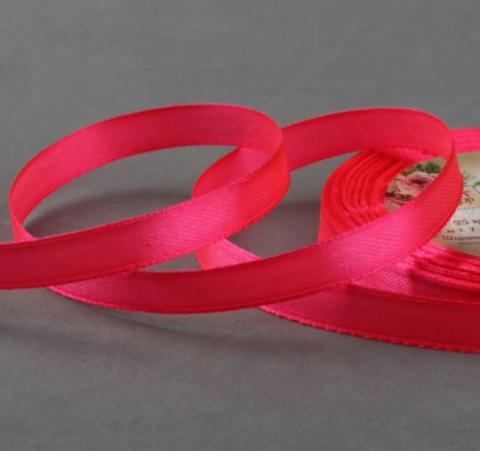 Лента атласная цвет неоновый розовый,10мм*23±1м