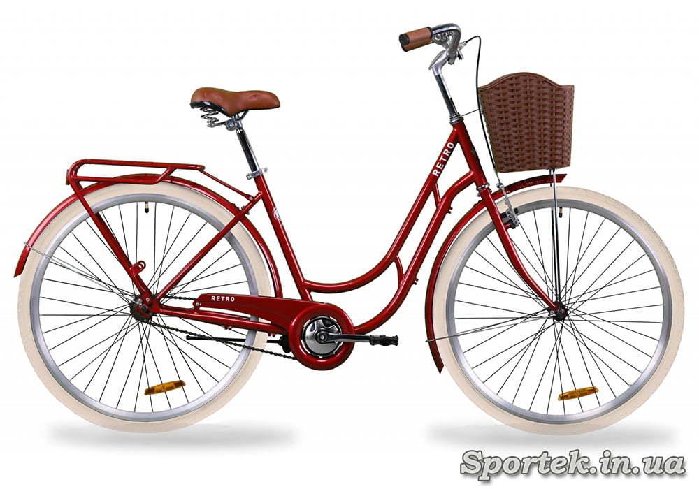 Универсальный городской велосипед Dorozhnik Retro с колесами 28 дюймов - рубиновый