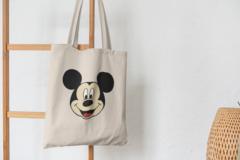 Сумка-шоппер с принтом Микки Маус (Mickey Mouse) бежевая 003