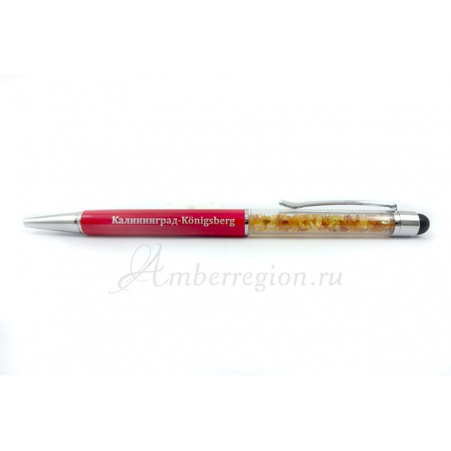 Ручка-стилус с янтарем (красная)