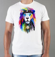 Футболка с принтом Лев (Lion) белая 0035