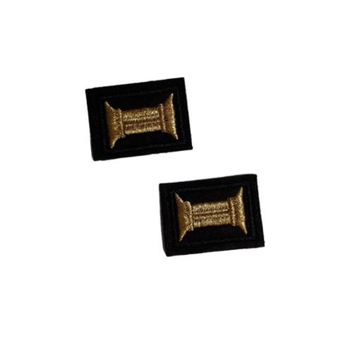 Нашивки вышит. Петличные эмблемы для офиц. состава ВМФ (черный фон и кант, вышивка - золотой люрекс)