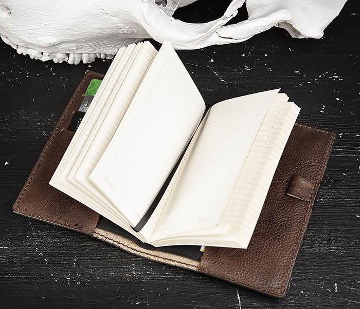 BC206-2 Крутой кожаный блокнот «Борода» ручной работы (А6) фото 08