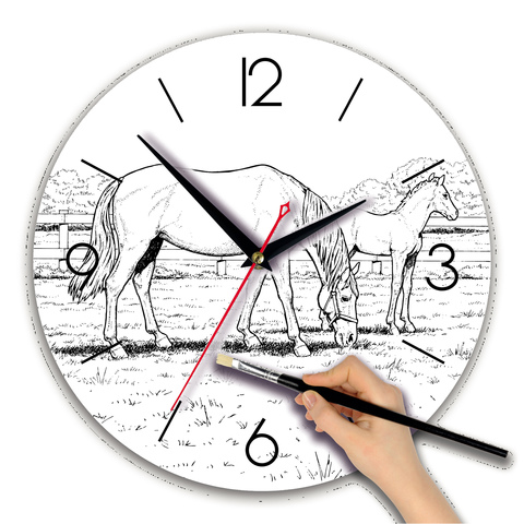 Часы раскраска акварель
