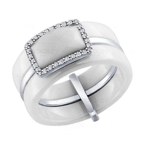 Серебряное кольцо с белой керамикой и фианитами