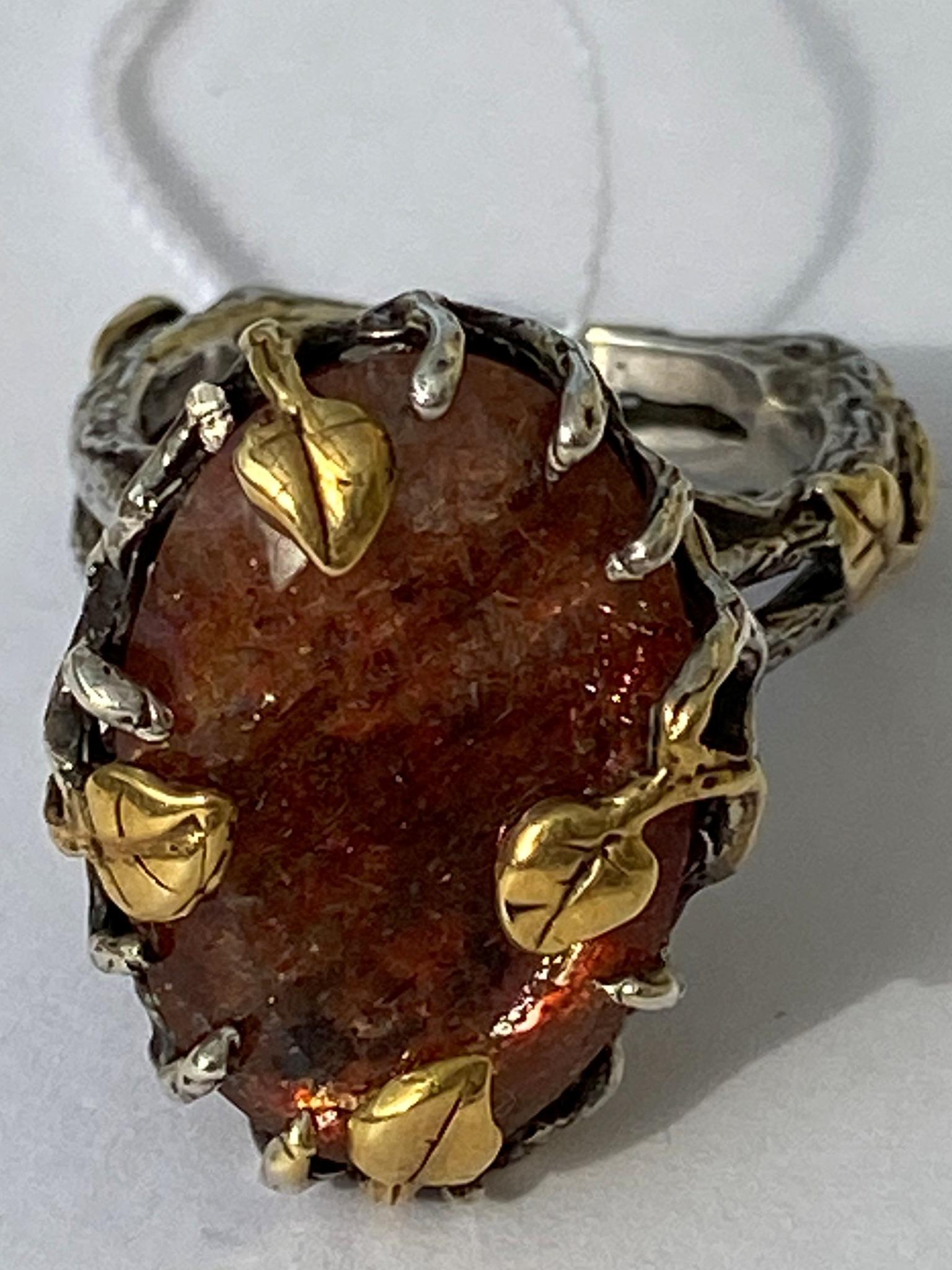 Лозанна-солнечный(серебряное кольцо с позолотой)