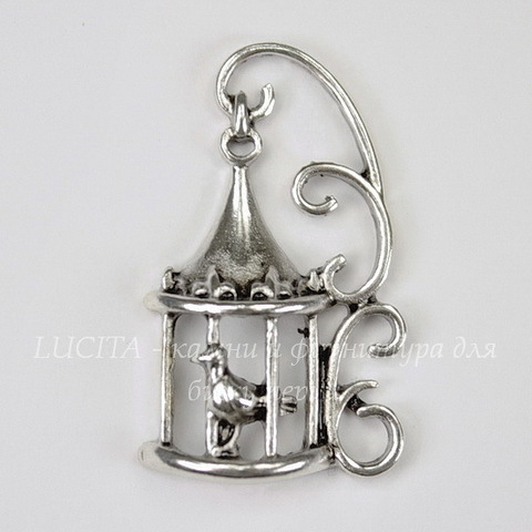 "Подвеска ""Птица в клетке""  (цвет - античное серебро) 35х21х6 мм"