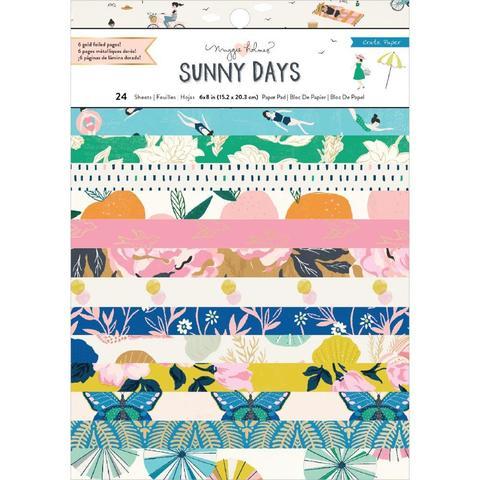 Набор односторонней бумаги 15х20см с золотым тиснением  -Maggie Holmes Sunny Days от Crate Paper - 24 л