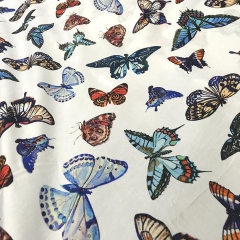 Ткань хлопок сатин  с эластаном с бабочками 2052