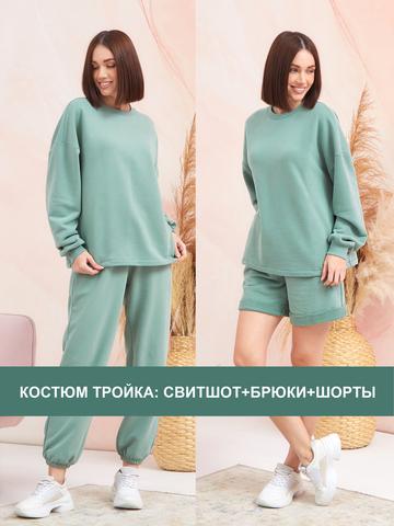 BM Костюм тройка Зеленый гранит (свитшот, брюки, шорты)