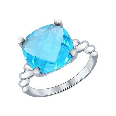 94011957 - Кольцо из серебра с  голубым кристаллом