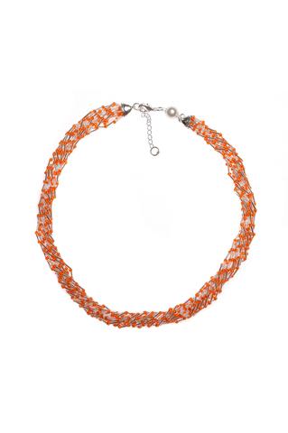 Бисерное ожерелье Facilità из 12 нитей оранжевое