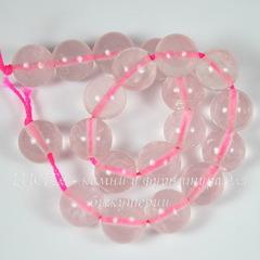 Бусина Кварц, шарик, цвет - розовый, 10 мм, нить