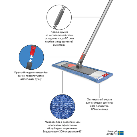 Набор из швабры с телескопической ручкой 160 см и сменной насадки из микрофибры Bucket
