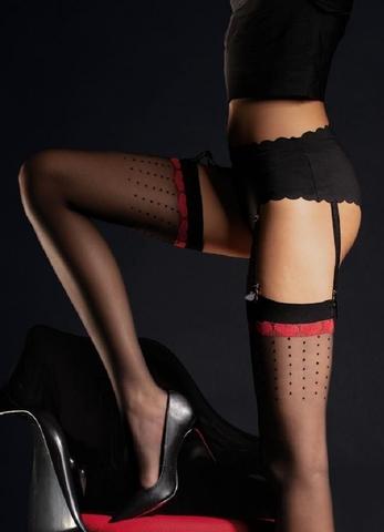 Чувственные чулки с черными и красными узорами 20 DEN FIORE 4069/O LOVELY