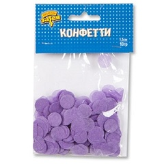 Конфетти Круги тишью Сиренев 1,5 см, 10 гр, 1 уп.