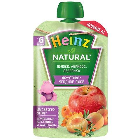 Пюре Heinz яблоко, абрикос, облепиха пауч 90 гр. (6+ мес.)