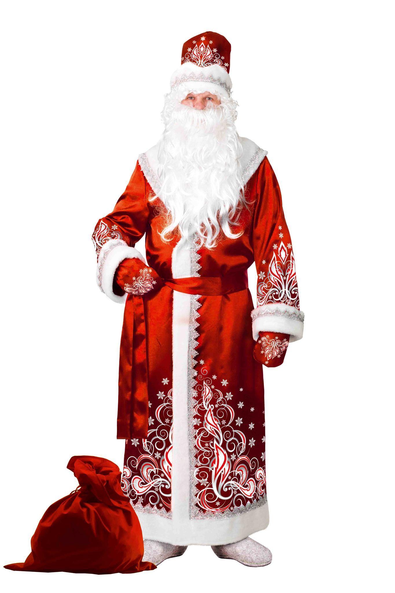 костюм Дед Мороз сатин аппликация красный 5350-1 для взрослого