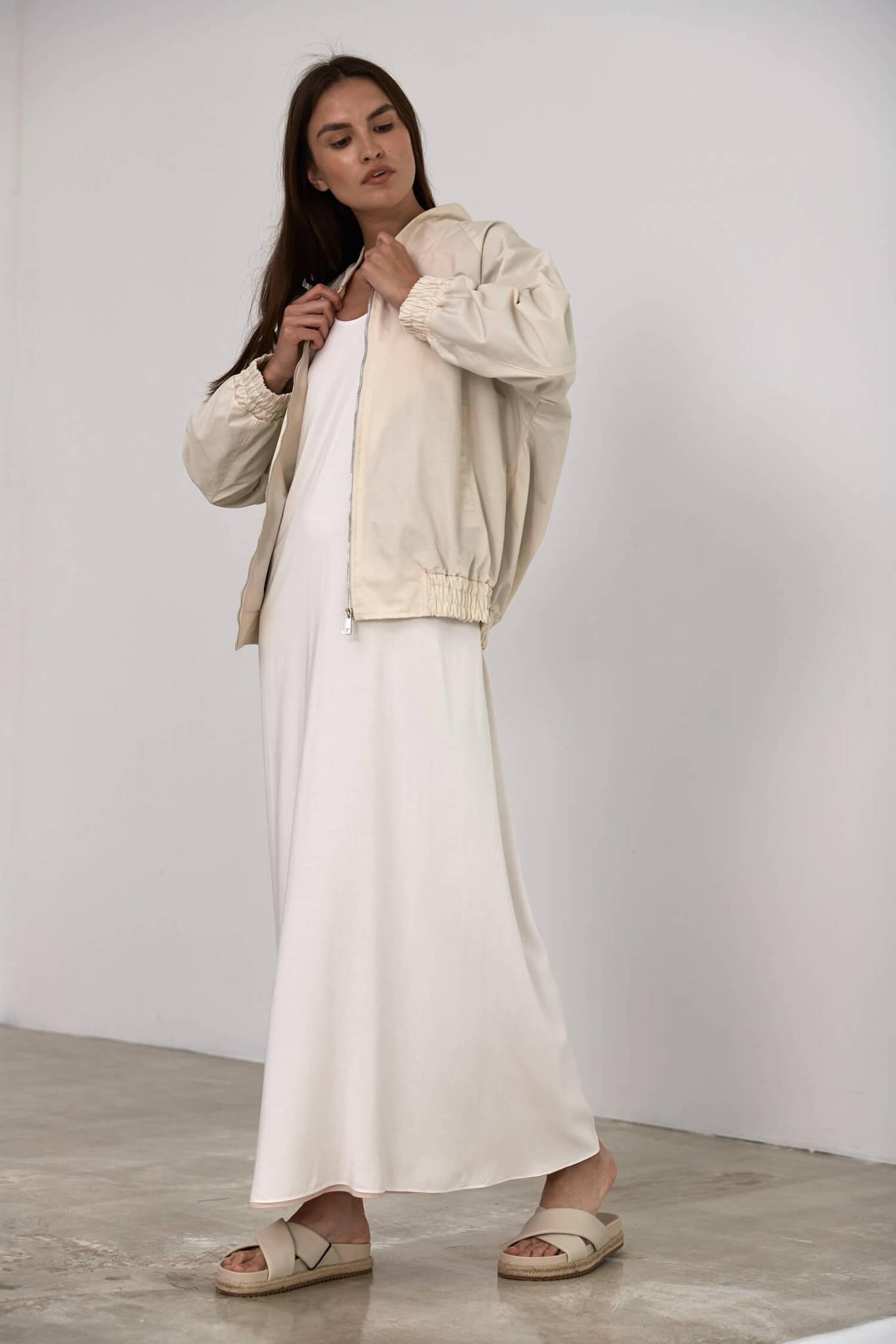 Платье-майка длинное без боковых швов, двустороннее молоко/беж
