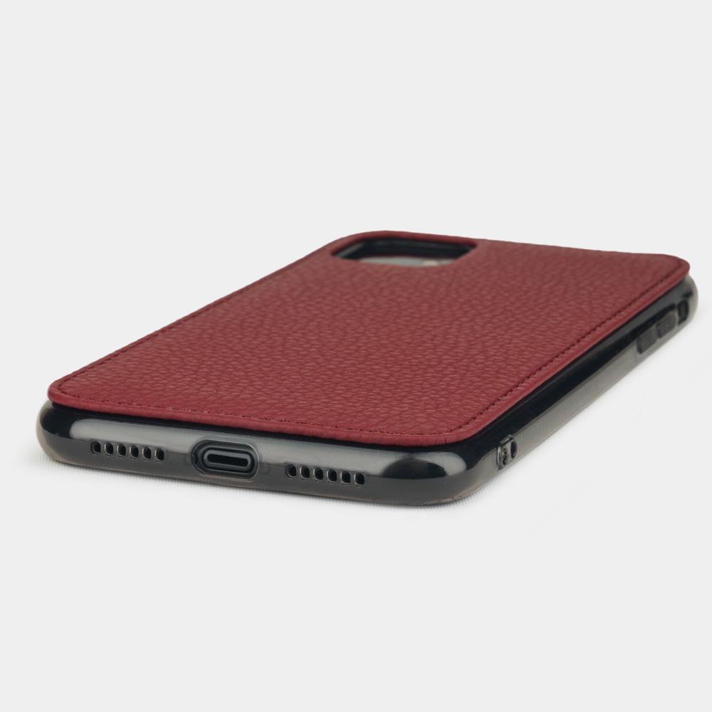 Чехол-накладка для iPhone 11 из натуральной кожи теленка, вишневого цвета