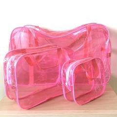 Тонированная прозрачная сумка в роддом с 2 косметичками, розовая, вид 4