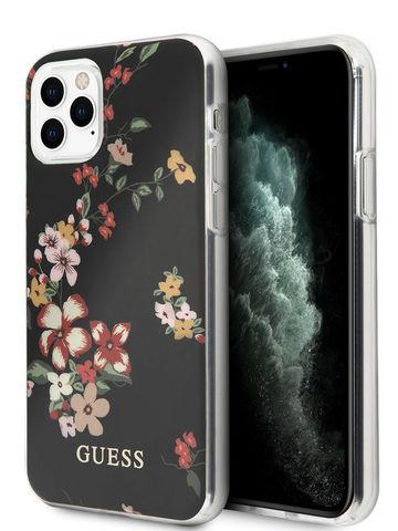 Guess / чехол для телефона iPhone 11 Pro Max | Flower TPU/PC Hard Shiny N.4 Black