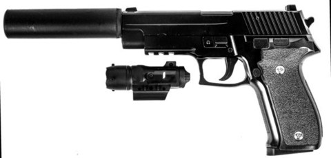 Страйкбольный пистолет Galaxy G.26A SIG226 с глушителем металлический, пружинный