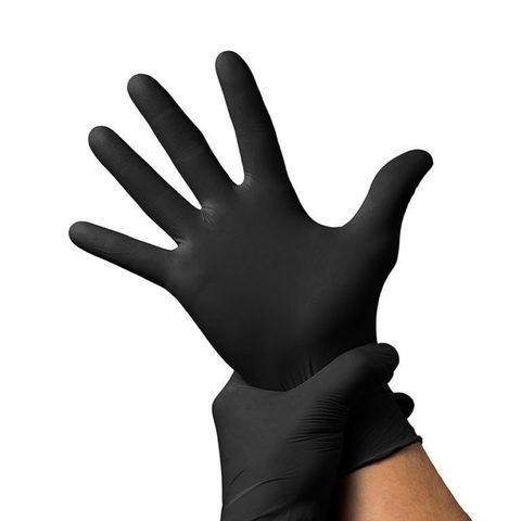 Черные перчатки нитриловые UNEX 100 шт, XS