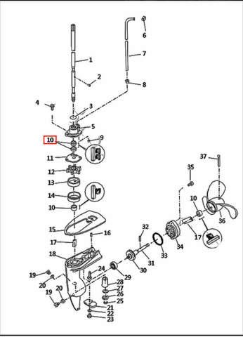 Сальник вертик. вала 10,8*21*7 для лодочного мотора T2,5 SEA-PRO (8-10)