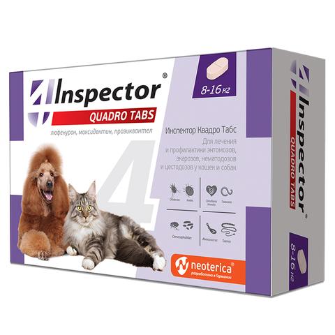 Инспектор Quadro Табс для кошек и собак 8-16 кг 4 таб.