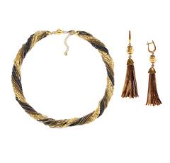 Комплект украшений золотисто-черный (длинные серьги из бисера, бусы из бисера 24 нити)