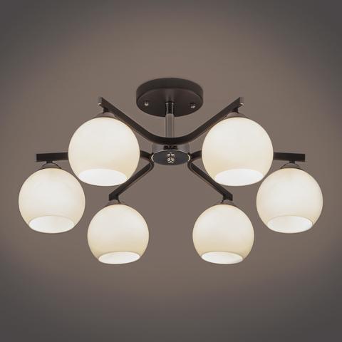 Потолочная люстра со стеклянными плафонами 30145/6 хром/венге