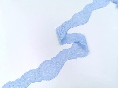 Эластичное кружево, 5 см, голубое, (Арт: UEK-0012), м