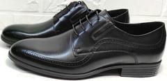 красивые мужские туфли со шнурками Ikoc 3416-1 Black Leather.