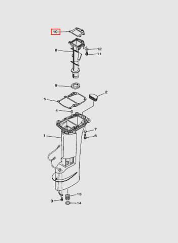 Прокладка выпускного коллектора  для лодочного мотора T15, OTH 9,9 SEA-PRO (15-10)