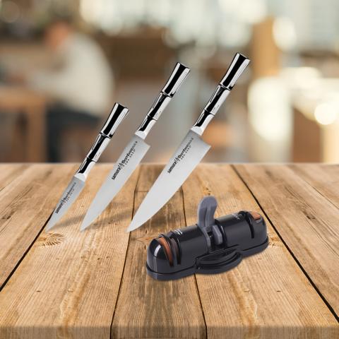 Набор из 3 ножей Samura BAMBOO и точилки KSS-3000