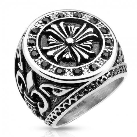 Крупный перстень с цирконами, Сталь, SPIKES R-H9833