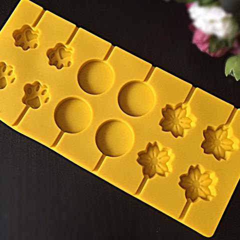 Силиконовая форма для леденцов Лапка, Круг, Цветок 12в1 (диаметр 35мм)