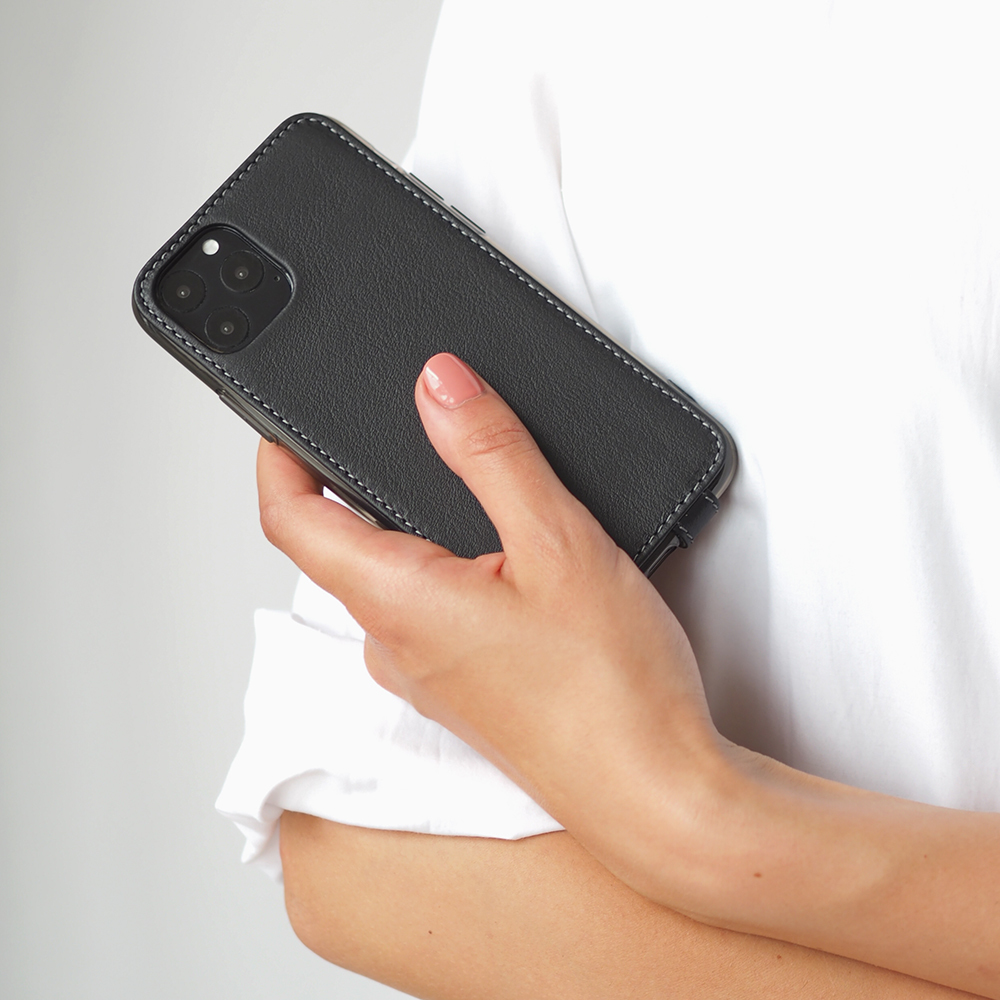 Чехол для iPhone 11 Pro из натуральной кожи теленка, черного цвета