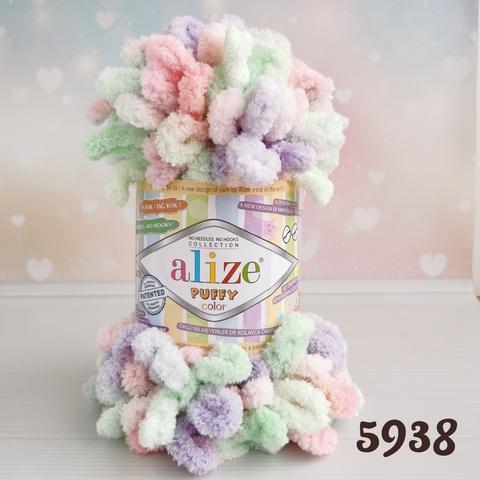 ALIZE PUFFY COLOR 5938, Зеленый/розовый/фиолетовый