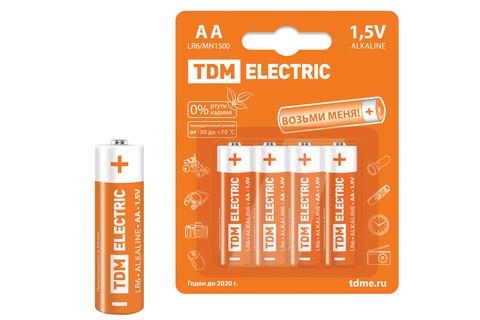 Элементы питания LR6 AA Alkaline 1,5V BP-4 TDM