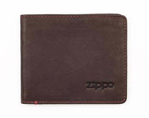 Портмоне Zippo, коричневое, натуральная кожа, 11×1,5×10 см