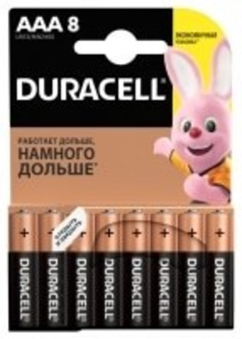 Элемент питания DURACELL Basic AAA 1.5V LR03 8шт