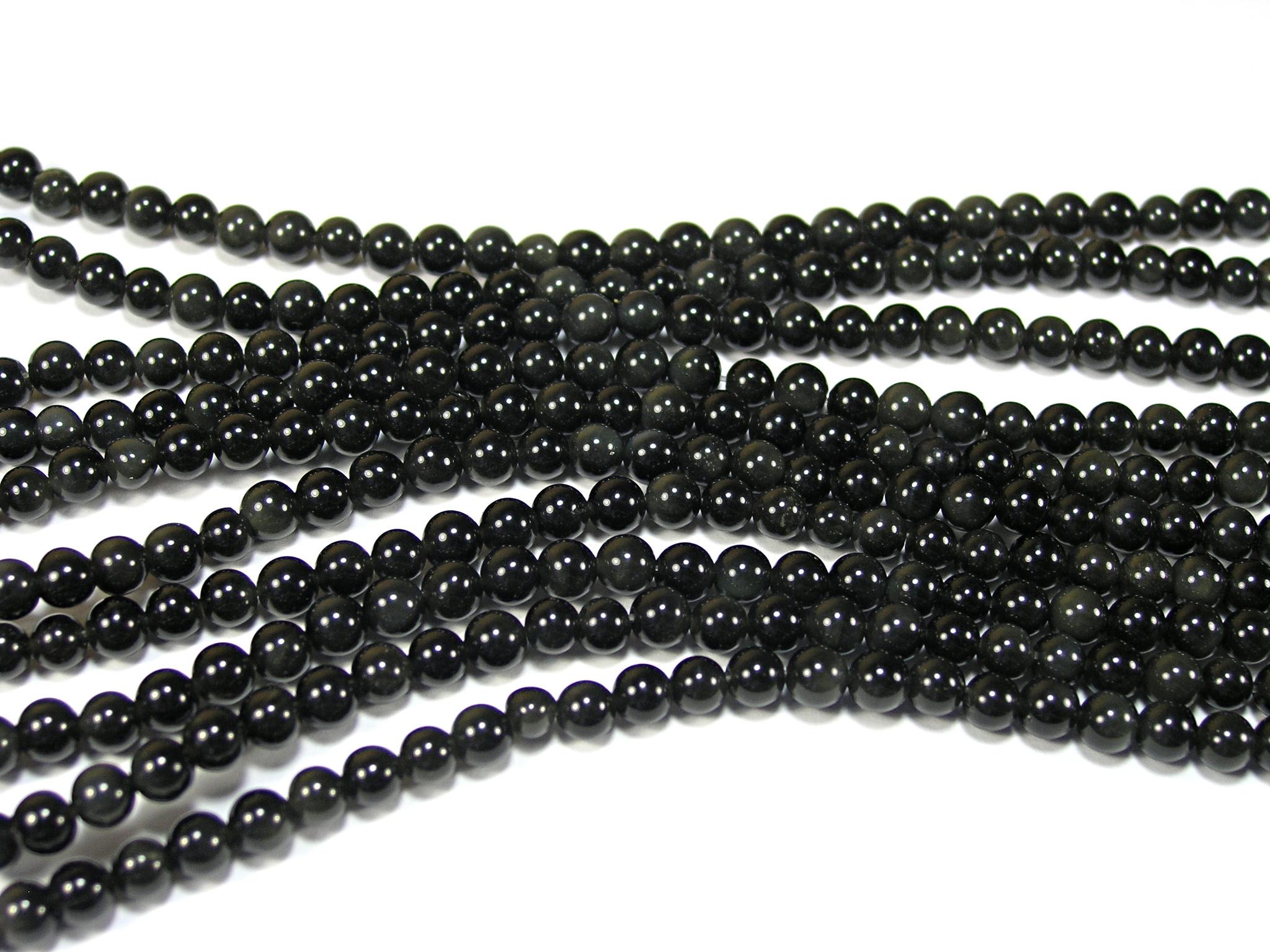 Нити бусин из обсидиана черного, шар гладкий 4мм (оптом)
