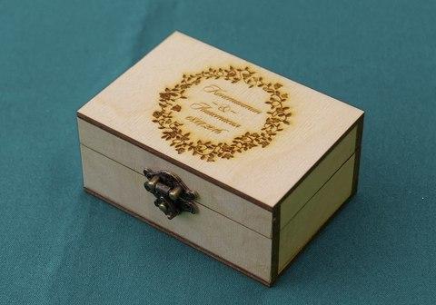 Деревянная Шкатулка для колец ДекорКоми с гравировкой